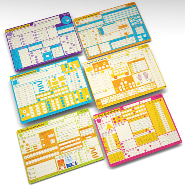 Rapid Recall Whiteboards for home learning and homeschooling for Years 1 through 6 laid out on a white background
