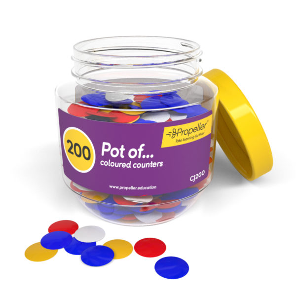 cj200 pot of 200 single-coloured counters shown on a white background