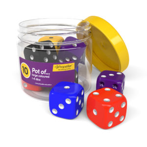 dj10a pot of 10 large spotted 1-6 dice in bright colours