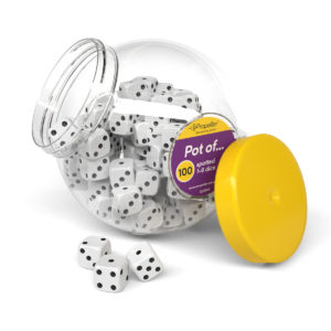 dj22100 pot of 100 spotted 1-6 dice, 22mm