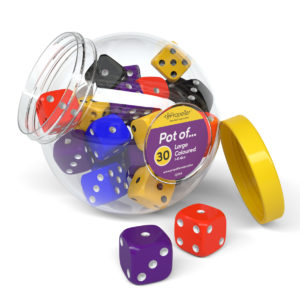 dj30a pot of 30 large spotted 1-6 dice in assorted colours