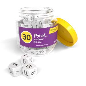 dj712030 pot of numbered 7-12 dice