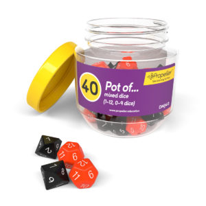 dmj40 pot of mixed dice, including 1-12 and 0-9 dice in black and red