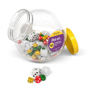 dmj90 pot of 90 mixed dice in blank, place value and spot