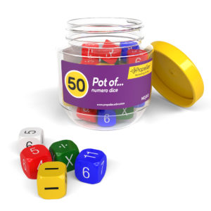 ndj50 pot of 50 multicoloured numero dice