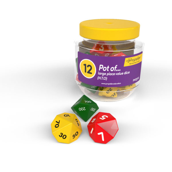 pvdj12 pot of 12 large place value dice, h.t.o, green red and yellow
