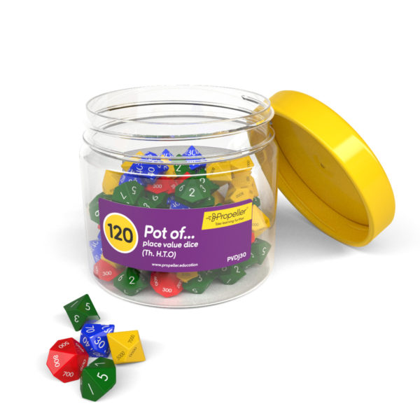 pvdj30 image of a round pot of 120 place value dice, th.h.t.o