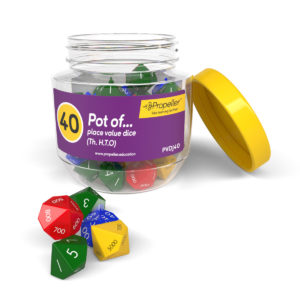 pvdj40 a pot of 40 place value dice, th.h.t.o