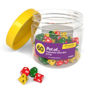 pvdj60 pot of large place value dice, h.t.o in green red and yellow