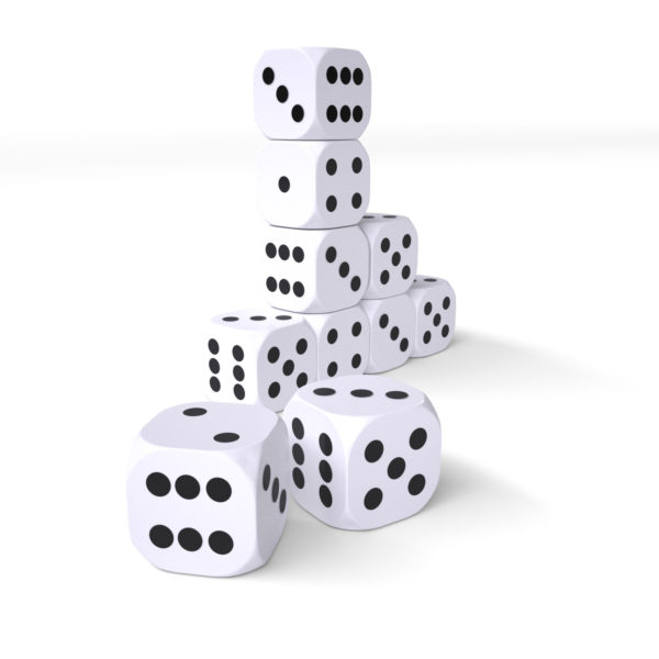 Pack of 10 22mm spotted dice stacked up on a white background