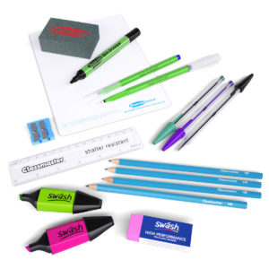 Homeschooling Stationery Pack containing pens, pencils, erasers, highlighters, a mini whiteboard and more on a white background