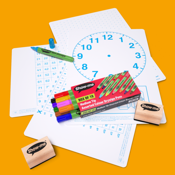 Pack of 4 Show-me Mini Whiteboards for Maths laid out on an orange whiteboard. Picture also shows a pack of 10 Show-me Pens in assorted colours and 2 wooden-handled erasers.