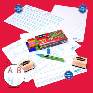 Four Show-me English mini whiteboards for homeschooling and home learning laid on a red background with 10 assorted colour Show-me Pens and 2 wooden-handled erasers